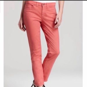 Eileen Fisher coral Pink Twill Ankle Zip Jean 10
